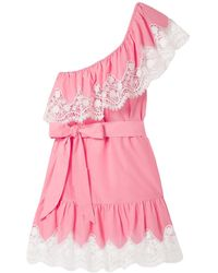 Miguelina Summer One-shoulder Cotton Mini Dress W/ Lace - Pink