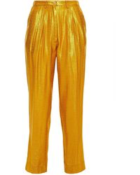 Forte Forte Pleated Metallic Jacquard Tapered Pants - Yellow