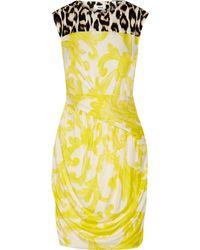 Issa Oralee Printed Stretch-jersey Mini Dress - Yellow