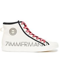 Zimmermann Appliquéd Logo-print Canvas High-top Sneakers - Natural