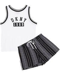 DKNY Pyjama Aus Webstoff Und Jersey Mit Print - Weiß
