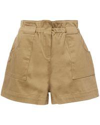 Ba&sh Alek Gathered Stretch-cotton Shorts Army Green