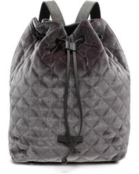 Brunello Cucinelli - Woman Quilted Velvet Backpack Anthracite - Lyst