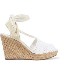Schutz - Lace-up Crocheted Wedge Espadrille Sandals White - Lyst