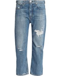 Rag & Bone Boy Cropped Distressed Boyfriend Jeans Mid Denim - Blue