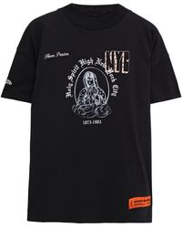 Heron Preston Bedrucktes T-shirt Aus Baumwoll-jersey Mit Stickereien - Schwarz