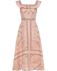 Sandro Gale midikleid aus einer leinen-baumwollmischung mit print und rüschenbesatz - Pink