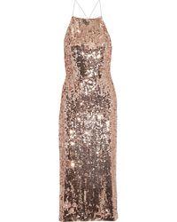 Jason Wu Open-back Sequined Satin Dress - Metallic