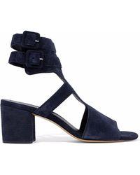 Rag & Bone - Woman Madison Cutout Suede Sandals Navy Size 35 - Lyst