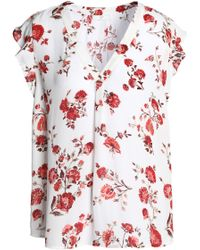 Joie - Ruffle-trimmed Floral-print Silk Crepe De Chine Top - Lyst