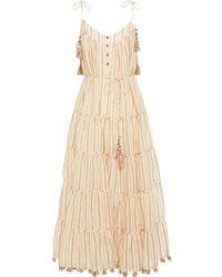 Zimmermann Tiered Metallic Striped Cotton-blend Gauze Midi Dress Sand - Natural