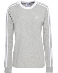 adidas Originals Striped Stretch-cotton Jersey Top Grey