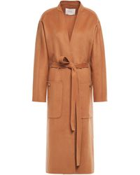Maje Galiro Belted Wool-blend Felt Coat Light Brown