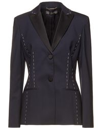 Versace Satin-trimmed Wool-blend Blazer Midnight Blue
