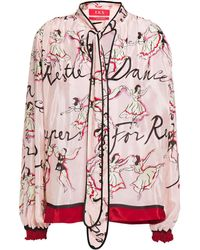 F.R.S For Restless Sleepers Alfito Tie-neck Printed Satin Blouse Baby Pink