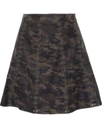 Haute Hippie Eyelet-embellished Printed Leather Mini Skirt - Black