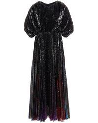 MSGM Pleated Sequined Mesh Midi Dress - Black