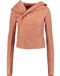Rick Owens - Brushed-leather Hooded Jacket - Blush - Pink