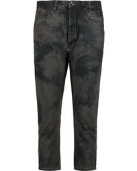 Rick Owens - Cropped Printed High-rise Slim-leg Jeans - Charcoal - Grey