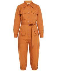 Antik Batik Kala Cropped Belted Cotton-broadcloth Jumpsuit - Orange