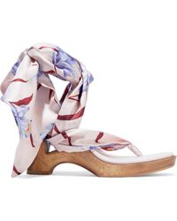 Zimmermann Snake-print Satin-twill And Leather Wedge Sandals Lilac - Purple