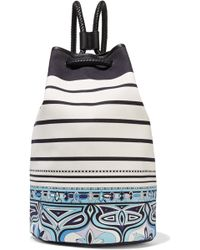 Emilio Pucci Leather-trimmed Printed Canvas Backpack - White