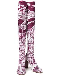 Neous Restrepia Leather-trimmed Printed Stretch-jersey Over-the-knee Boots - Purple