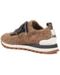 Brunello Cucinelli Sneakers aus gebürstetem filz mit zierperlen und lederbesatz - Braun