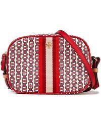 Tory Burch Gemini Link Mini-schultertasche Aus Canvas Mit Lederbesatz - Rot