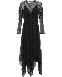 Maje Ribbed And Jacquard-knit Mini Dress Black