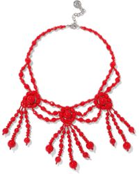 Ben-Amun - Woman Beaded Silver-tone Necklace Red - Lyst