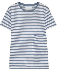 Current/Elliott The Drop Pocket Striped Linen-jersey T-shirt Light Blue - White