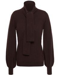 Zimmermann Tie-neck Merino Wool Sweater - Brown