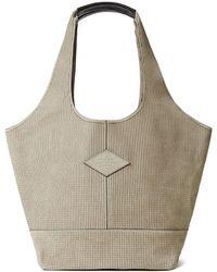 Rag & Bone Logo-appliquéd Embroidered Shoulder Bag Stone - Multicolour