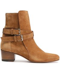 Amiri Buckle-detailed Suede Ankle Boots Light Brown