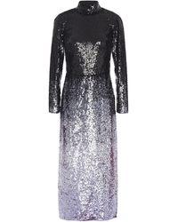 Temperley London Opia Open-back Dégradé Sequined Stretch-crepe Midi Dress Dark Purple - Grey