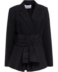Carolina Herrera Double-breasted Pleated Wool-blend Twill Blazer - Black