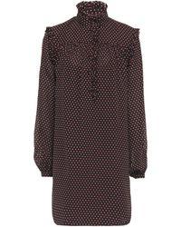 FRAME Gathered Ruffle-trimmed Printed Crepe Mini Dress Black