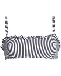 Solid & Striped - Woman The Leslie Ruffle-trimmed Striped Seersucker Bikini Top Anthracite - Lyst