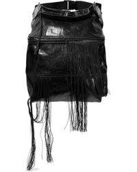 Rick Owens Convertible Fringed Pvc-trimmed Coated Denim Belt Bag Black