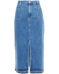 FRAME Le Bardot Frayed Denim Midi Skirt Mid Denim - Blue