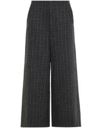 Gestuz Cropped Pinstriped Felt Wide-leg Trousers Dark Grey - Multicolour