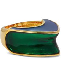Kenneth Jay Lane - Gold-tone Color-block Enamel Ring - Lyst
