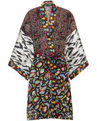 Duro Olowu - Abstract Bird Printed Silk-georgette And Satin Kimono - Lyst