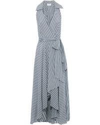 MILLY - Striped Silk And Cotton-blend Voile Midi Wrap Dress - Lyst