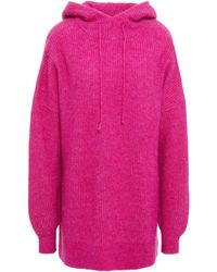 Ganni Oversized Brushed Knitted Hoodie - Pink