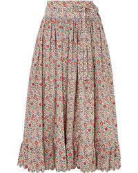 Horror Vacui Agatha Scalloped Floral-print Cotton-poplin Midi Skirt - Red