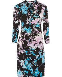 Diane von Furstenberg Freya Printed Stretch-silk Dress - Blue