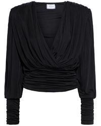 Redemption Ruched Satin-jersey Wrap Top - Black