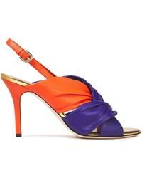 Emilio Pucci Twisted Two-tone Leather Slingback Sandals - Orange